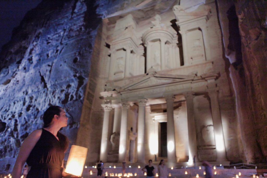 10 Days in Jordan - Valerie in Petra at Night