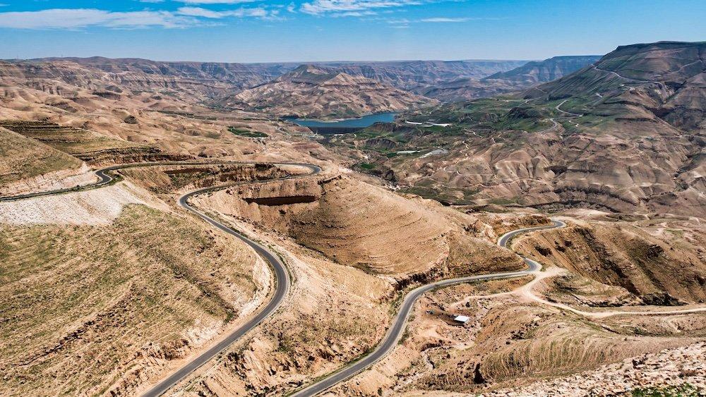 Driving in Jordan - Winding Two Lane Highway through the mountains