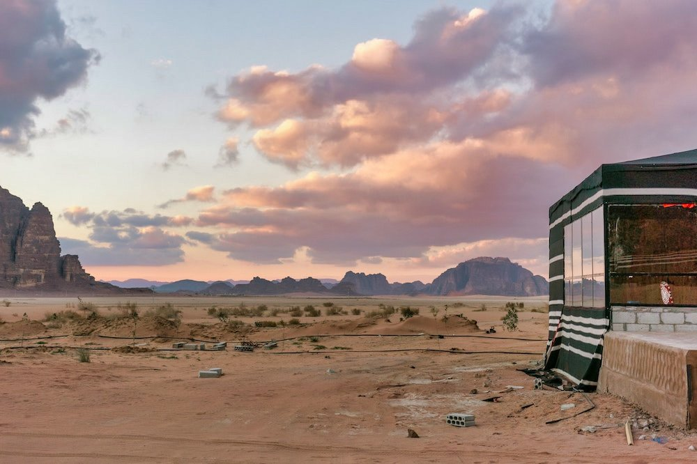 Traveling to Wadi Rum - Wadi Rum Camp and Clouds