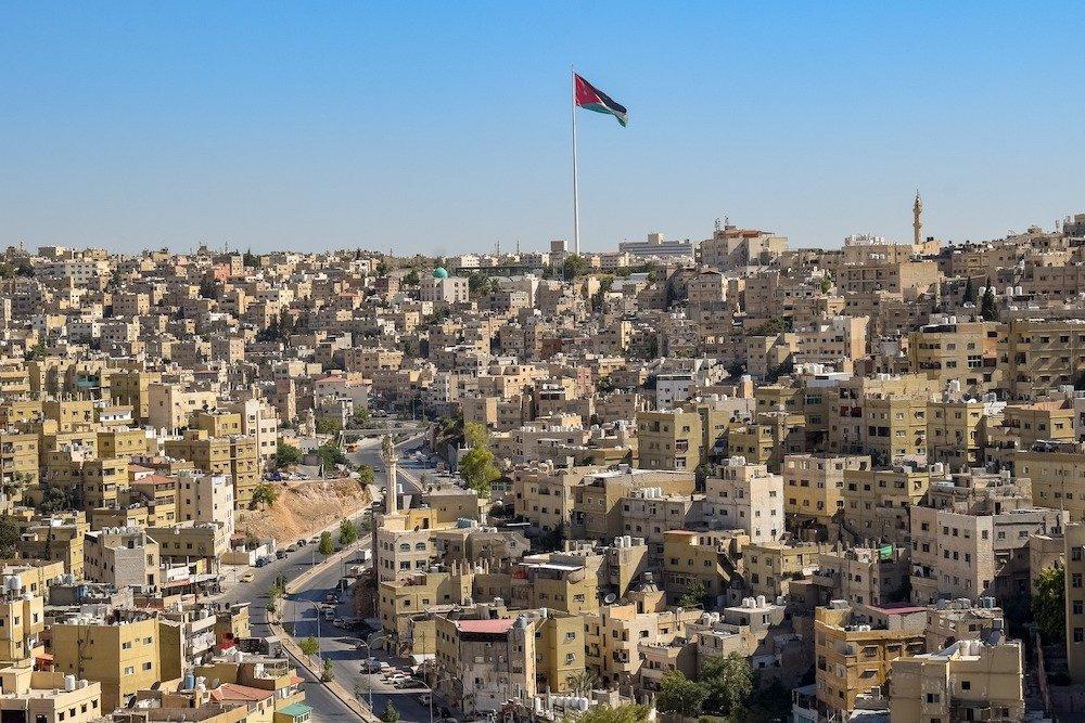 Amman to Dead Sea - Skyline with Flag